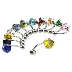 6 Pcs 316L Stainless Zircon Crystal Belly Button Ring Navel Piercing Nombril Ombligo Plug Body Jewelry 14G Wholesale Free Ship