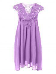 Plus Size Hollow Out Lace Spliced Mini Dress (LIGHT PURPLE,3XL)   Sammydress.com Mobile