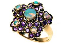 Flower Ring with Opal and Amethyst (R0806 O/A) https://www.facebook.com/Antikaworld http://www.antikajewelry.com/