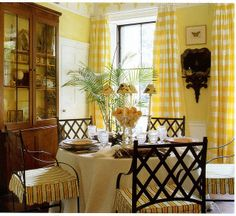 """Love the color palette and the """"feel."""" Would just add cushion to chair back for comfort. Beautiful Interiors, Colorful Interiors, Yellow Dining Room, Yellow Cottage, Dining Area, Round Dining, Dining Table, Yellow Interior, Beautiful Dining Rooms"""