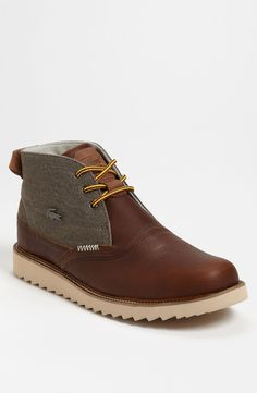 Lacoste 'Farmington Boot available at Nike Outfits, Mens Boots Fashion, Men S Shoes, Leather Shoes, Designer Shoes, Me Too Shoes, Sneakers, Casual Shoes, Shoe Boots