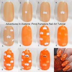 Tutorial Tuesday: Pond Pumpkins Nail Art! - Adventures In Acetone