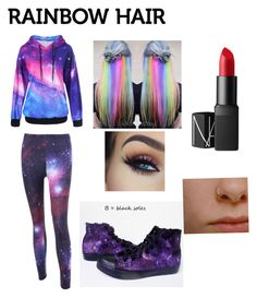 """""""Random Rainbow Galaxy Stuff"""" by itsyourgirllizzie ❤ liked on Polyvore featuring NARS Cosmetics, hairtrend and rainbowhair"""