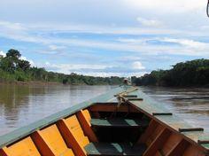 Boating on the Tambopata River, Peru.