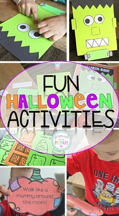 Fun Halloween Activities for Proud to be Primary's Halloween FUN pack that is full of writing, math, and other fun activities for your primary kids. Franken-buddy craft & Action Pumpkins included! #halloweenactivities #halloweenforkids #halloweenfun #halloweenprintables #halloweencrafts