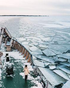 Kemi Icebreaker Sampo ship at nordic blue moment in Finnish Lapland