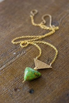 Gold Triangle and Fire Turquoise Necklace