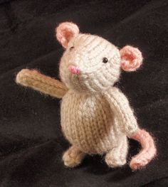 Free Knitting Pattern for Marisol Mouse - This teacup sized amigurumi mouse toy was designed by Rachel Borello Carroll. Pictured project by cathyia