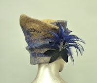 Gold and Blue Felted Hat with  blue Feather Flower