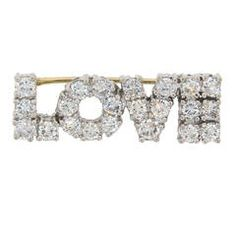 Diamond Gold LOVE Pin Brooch
