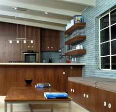 Kitchen: Heath Ceramics - Kitchen using tile from the Classic Field collection in Crystal Blue Architect: Shelter Design Photo: Chris Pendergast Heath Ceramics Tile, Heath Tile, Kitchen Redo, Kitchen Tiles, Shelter Design, Kitchen Wall Decals, Kitchen Installation, Midcentury Modern, House