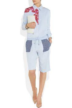 Thakoon Addition Printed silk-paneled chambray shirt, and shorts