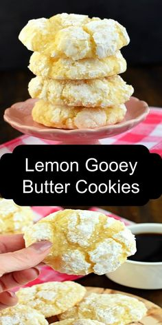 Lemon Gooey Butter Cookies Thick, fluffy and flavorful describe these delicious lemon sticky butter cookies. Gf Recipes, Delicious Recipes, Easy Recipes, Cookie Recipes, Chicken Recipes, Tasty, Christmas Baking, Christmas Recipes, Christmas Cookies