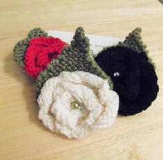 Hand Knitted Rose Flower Brooch, ideal Mother's Day Gift, Yorkshire Rose, Goth Rose, Red Rose. UK seller, ready now. add to Coat or Hat.