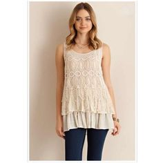 LISTING! NWT Crochet Overlay Tank Top NWT Crochet Overlay Tank Top in Cream. Adorable crochet overlay on this tank, with bottom ruffles! Fabric is Polyester/Rayon. Fits true to size. Available in S (0-4), M (6-8), L (10-12). No Trades and No Paypal Tops Tank Tops