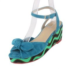 Charlotte Olympia shoes,Charlotte Olympia wedge sandals ,Charlotte Olympia knot wedges,blue sandals with stripe heel Blue Wedges, Blue Sandals, Wedge Sandals, Olympia Shoes, Luxury Bedding Sets, Charlotte Olympia, Blue Suede, Knot, Heels