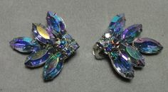 Vintage Silver tone Blue AB Navettes Clip on by Cosasraras on Etsy, $14.99