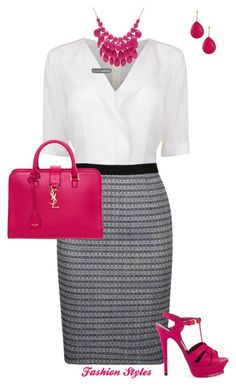 A pop of color! by lily-ramirez on Polyvore featuring BOSS Black, Yves Saint Laurent and Alexa Starr