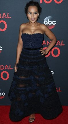 Kerry Washington in J.Mendel attends Scandal's 100th episode celebration. #bestdressed