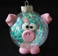 pig Femo bauble ornament/could make just about any kind of animal or put neat things, toys inside