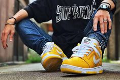 Supreme x Nike SB Air Force 2 Low Varsity Maize made of high-grade leather