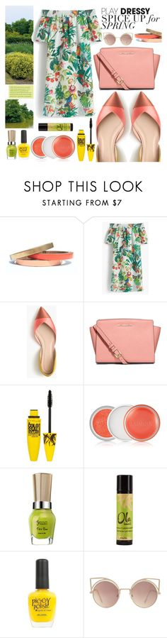 """""""Dress for Spring"""" by zafiaida ❤ liked on Polyvore featuring Voz Collective, J.Crew, MICHAEL Michael Kors, Maybelline, Clinique, Piggy Polish and MANGO"""