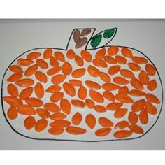 Pumpkin Seed Pumpkin:  After the field trip to the pumpkin patch and pumpkin carving, the preschool children could make pumpkins with the seeds.  This activity would show them that it is good to use as much of the pumpkin as you can.  I would also roast some of the seeds for a fun fall snack.  When I do this activity, I will not outline the pumpkin with a drawn black line.  I think it would look more artistic without the line, plus it would give the children more freedom.