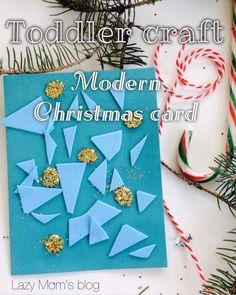 Modern Christmas card that a small kid can make !