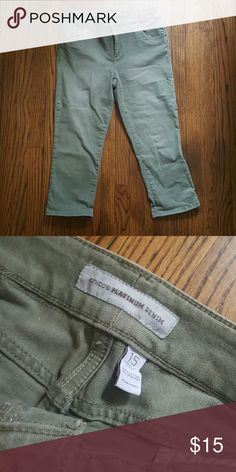 Chico's Denim Capri These jeans are seriously the best quality denim I'be ever owned.  The Jean has a little stretch and it fits your body like a glove!  This military green is such a hot trend right now too! Chico's Jeans Ankle & Cropped