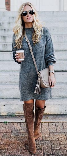 cute winter outfit_grey sweater dress + bag + brown over knee boots #fashiondressescasual