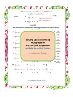 This unit contains 7 pages of equations: a pretest, 3 practice pages, a quiz, a test, and a make-up test for absent students.
