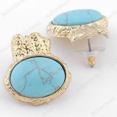 1 Pair Howlite Turquoise Gem Oval Ear Stud Punk Earring Gold Tone Rock Fashion