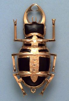 Late 18th Cent. Swiss verge gold and enamel pearl set watch in the form of a stag beetle
