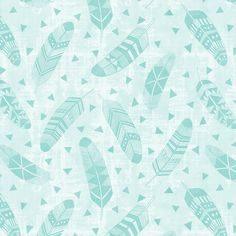 Feathers - Mint fabric by kimsa on Spoonflower - custom fabric