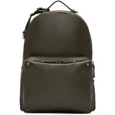Valentino Green Leather Rockstud Backpack (9,270 PEN) ❤ liked on Polyvore featuring men's fashion, men's bags, men's backpacks, men and bags