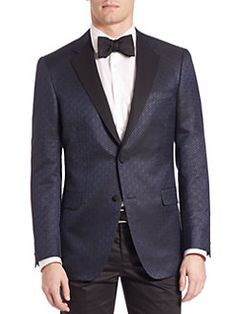 Saks Fifth Avenue Collection By Samuelsohn Classic-fit Jacquard Formal Sportcoat In Navy Fifth Avenue Collection, Groom Style, Saks Fifth Avenue, Sport Coat, Black Tie, Mens Suits, Suit Jacket, Man Shop, Blazer