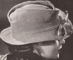 Vintage 1940's Women's Fedora Hat Crochet Pattern