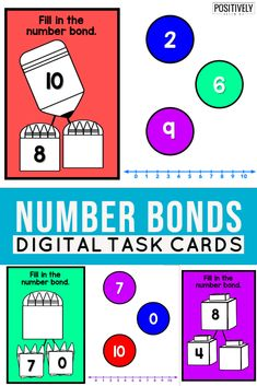 Number Bonds Practice using digital task cards! Add to your math centers or practice at home. 30 questions focusing one MIXED practice: missing parts and whole (total). Lowest prep - just needs an internet connection! Guided Practice, Guided Math, Guided Reading, Inclusion Classroom, Eureka Math, Number Bonds, Math Groups, Math Intervention, School Themes