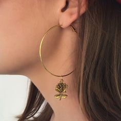 Gold Hoop Earrings - $12.00  http://www.bettybones.com/product/large-rose-hoop-earrings  photo: @trumansav