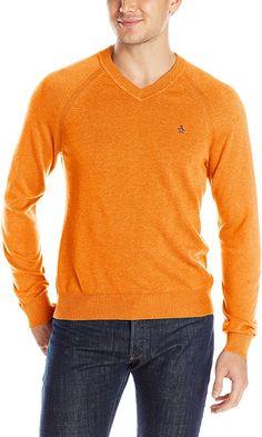 Original Penguin Men's V-Neck Sweater, Cherry Tomato, X-Large Best Price
