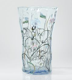 'AUX BLEUETS', AN ENAMELLED 'CLAIR DE LUNE' BLUE GLASS VASE BY EMILE GALLÉ, CIRCA 1879. SIGNED, MONOGRAMMED WITH CROSS OF LORRAINE, AND NUMBERED