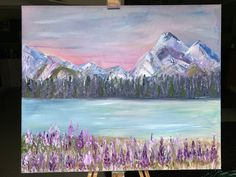 Original Oil painting of Glacial Waters, Mountains and Lupines, ready to hang Mount Laurel, Watercolor Sunset, Yellow Eyes, Turquoise Water, Stonehenge, Frame Shop, Paintings For Sale, Oil Painting On Canvas, Beautiful Paintings
