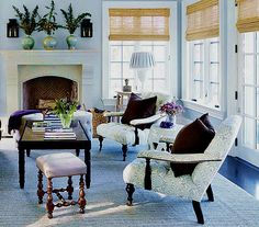 Chair in Quadrille Pina Windsor Blue on Tint (House Beautiful 2013)