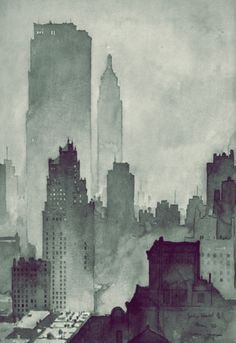 City watercolor.  Th
