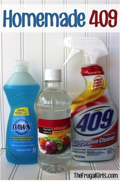Homemade 409 Recipe: ■2 Tbsp. Distilled White Vinegar  ■1 Tsp. Borax  ■1/8 cup Dawn Dishsoap  ■1 cup Hot Water  ■Triggered Spray Bottle {16 oz.}  ■Optional: Your Favorite Scent of Essential Oil  ■Pour vinegar, borax and hot water into spray bottle.  ■Then continue filling spray bottle with cool water.  ■Add Dawn Dishsoap last. {no need to shake}  ■Optional: Add in a few drops of your favorite scent of essential oil.