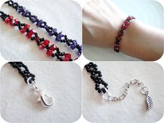 Gothic Black and Purple Ribbon Bracelet Seed Beads Jewelry Beaded with Crystals. $23.00, via Etsy.