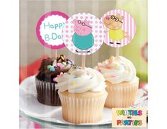 50% OFF Peppa Pig cupcake toppers Peppa Pig by PartiesandParties