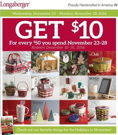 Hello Cyber Monday.....Today last chance for 20% savings! Spend $50 get $10 back! Contact me and I will gladly place your orders. www.longaberger.com/joanrhoads