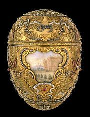 """Peter the Great Fabergé Egg, 1903 - Made in Rococo style with red, green, and yellow gold, platinum, diamonds, rubies, enamel, rock crystal, and miniature watercolor portraits on ivory. The """"surprise"""" was a miniature gold model of Peter the Great's monument on the Neva, resting on a sapphire base. Given by Tsar Nicolas II of Russia to his wife, Empress Alexandra."""
