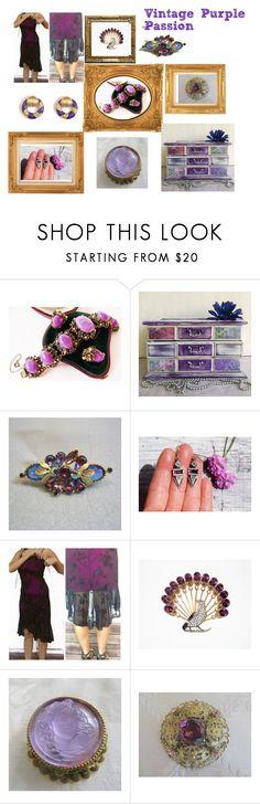 """Vintage Purple Passion"" by hbjewelry ❤ liked on Polyvore featuring Selro, vintage, purple, vintagestyle, purplepassion and PurpleVintage"